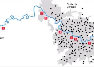 Mapa. Puntos del Suquía donde se tomaron muestras y lugar de residencia de los habitantes cuyas muestras de suero fueron evaluadas.