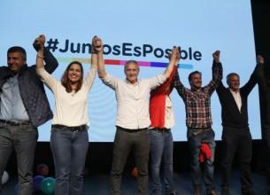 """FESTEJOS. """"El pueblo cordobés es el que, otra vez, nos da el impulso, nos da las ganas para seguir"""", afirmó Héctor Baldassi."""